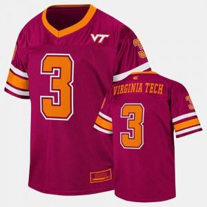 Youth(Kids) Hokies #3 Maroon College Football Jersey 269205-785