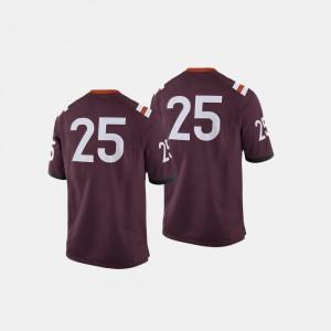 For Men's Virginia Tech Hokies #25 Maroon College Football Jersey 475304-262