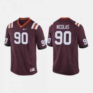 Men's Virginia Tech Hokies #90 Dadi Nicolas Maroon College Football Jersey 638119-636