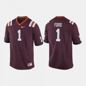 Men's Hokie #1 Isaiah Ford Maroon College Football Jersey 199314-773