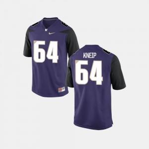 For Men UW Huskies #64 A.J. Kneip Purple College Football Jersey 755265-621