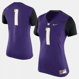 Women's University of Washington #1 Purple College Football Jersey 448560-849