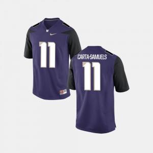 Men's Washington Huskies #11 K.J. Carta-Samuels Purple College Football Jersey 465416-289
