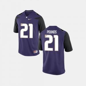 For Men's Washington Huskies #21 Quinten Pounds Purple College Football Jersey 522933-376
