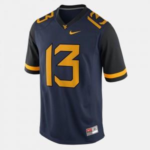 Men's West Virginia University #13 Andrew Buie Blue College Football Jersey 857093-355
