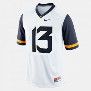 For Men West Virginia University #13 Andrew Buie White College Football Jersey 466792-179