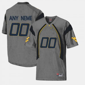 Mens West Virginia University #00 Gray College Limited Football Custom Jerseys 831427-914