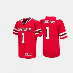 For Men's University of Wisconsin #1 Red Hail Mary II Jersey 536490-449