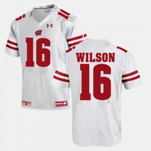 For Men Wisconsin #16 Russell Wilson White Alumni Football Game Jersey 450883-469