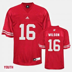 For Kids Wisconsin Badger #16 Russell Wilson Red College Football Jersey 726536-920