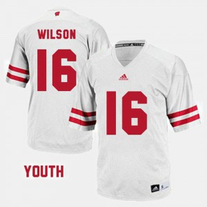 Youth Wisconsin Badgers #16 Russell Wilson White College Football Jersey 448549-221