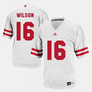 For Men Wisconsin Badger #16 Russell Wilson White College Football Jersey 138425-747