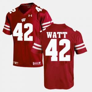 For Men's Wisconsin Badgers #42 T.J Watt Red Alumni Football Game Jersey 961924-500