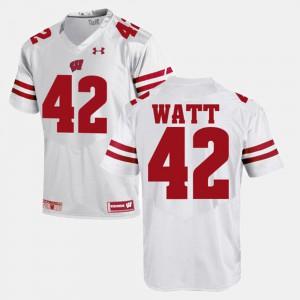 For Men Wisconsin Badger #42 T.J Watt White Alumni Football Game Jersey 787207-298