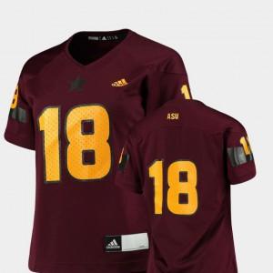 For Women's Arizona State #18 Maroon College Football Replica Jersey 213369-465