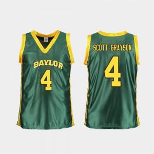 Women's Baylor University #4 Honesty Scott-Grayson Green Replica College Basketball Jersey 894002-231