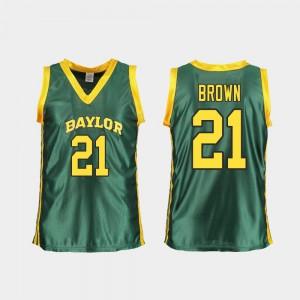 Ladies Baylor University #21 Kalani Brown Green Replica College Basketball Jersey 127567-588