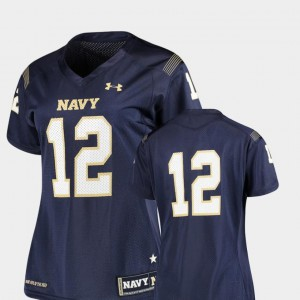 For Women's United States Naval Academy #12 Navy College Football Finished Replica Jersey 784624-478