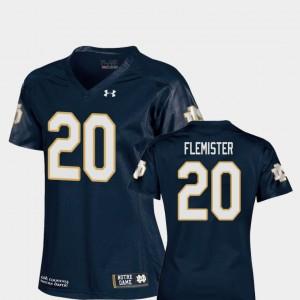 Ladies ND #20 C'Bo Flemister Navy College Football Replica Jersey 694554-573