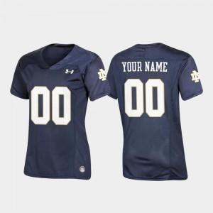 For Women's UND #00 Navy Replica Football Customized Jersey 135654-453