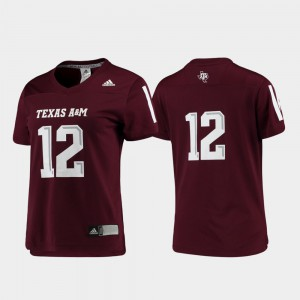 For Women's Aggies #12 Maroon Replica Football Jersey 591947-339