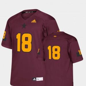 Kids Sun Devils #18 Maroon College Football Replica Jersey 777037-790