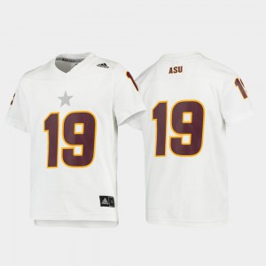 Youth ASU #19 White Replica Football Jersey 899138-167