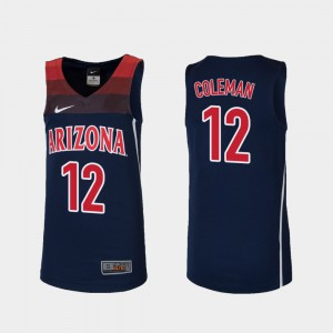 Kids UofA #12 Justin Coleman Navy Replica College Basketball Jersey 874846-967