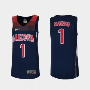For Kids Arizona Wildcats #1 Nico Mannion Navy Replica College Basketball Jersey 418193-454