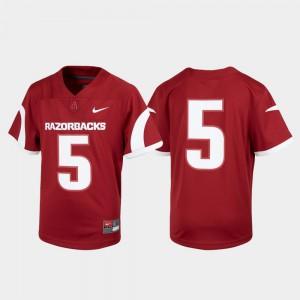 Kids Arkansas #5 Cardinal Untouchable Football Jersey 992678-613