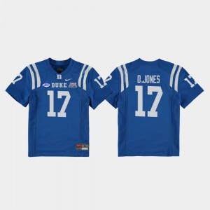 Youth Blue Devils #17 Daniel Jones Royal 2018 Independence Bowl College Football Game Jersey 387728-128