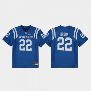 For Kids Duke #22 Brittain Brown Royal 2018 Independence Bowl College Football Game Jersey 680018-848