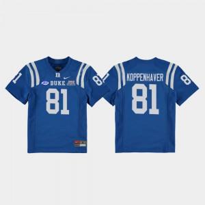 For Kids Duke Blue Devils #81 Davis Koppenhaver Royal 2018 Independence Bowl College Football Game Jersey 359341-672