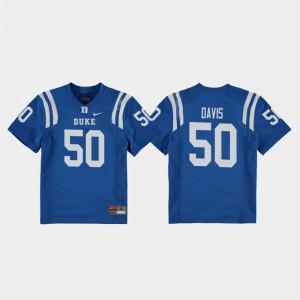 Youth Duke #50 Austin Davis Royal College Football Replica Jersey 296766-165