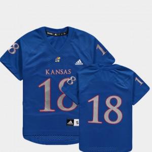 Youth(Kids) University of Kansas #18 Royal College Football Replica Jersey 195194-811