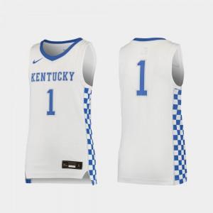Youth(Kids) Kentucky Wildcats #1 White Replica Basketball Jersey 227092-470