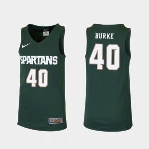 Kids Michigan State #40 Braden Burke Green Replica College Basketball Jersey 756116-441