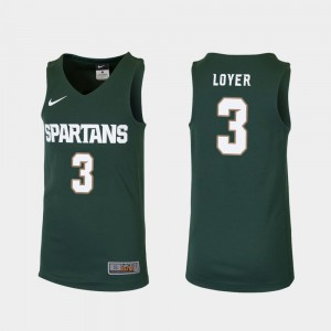 For Kids Michigan State University #3 Foster Loyer Green Replica College Basketball Jersey 364239-526