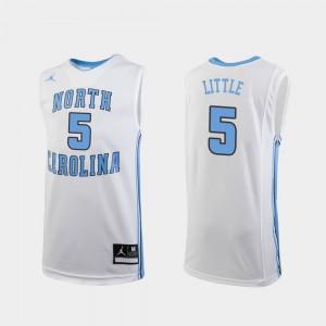 Youth University of North Carolina #5 Nassir Little White Replica College Basketball Jersey 736922-236