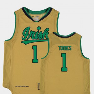 Youth(Kids) Fighting Irish #1 Austin Torres Gold Replica College Basketball Special Games Jersey 780037-147