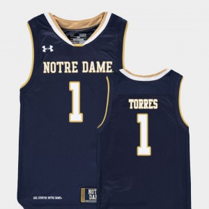 Youth(Kids) ND #1 Austin Torres Navy Replica College Basketball Jersey 288691-319