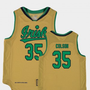 Youth ND #35 Bonzie Colson Gold Replica College Basketball Special Games Jersey 240980-733