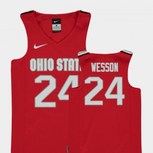 For Kids OSU #24 Andre Wesson Red Replica College Basketball Jersey 355385-837