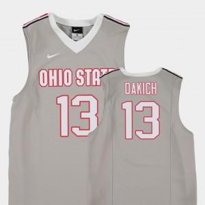 Youth(Kids) Ohio State #13 Andrew Dakich Gray Replica College Basketball Jersey 239915-688