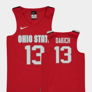 For Kids OSU #13 Andrew Dakich Red Replica College Basketball Jersey 215657-408