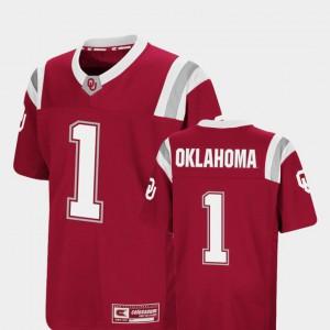 Kids Sooners #1 Crimson Foos-Ball Football Colosseum Jersey 336232-662