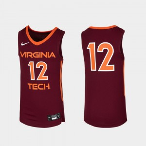 Youth VA Tech #12 Maroon Replica Basketball Jersey 209281-588