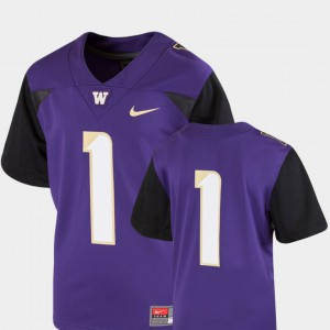 Kids Washington #1 Purple College Football Team Replica Jersey 933955-662