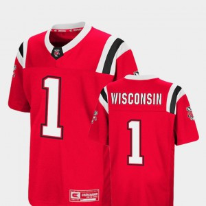 Youth(Kids) Badgers #1 Red Foos-Ball Football Colosseum Jersey 766704-907