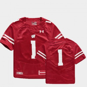 For Kids Wisconsin Badgers #1 Red College Football Finished Replica Jersey 185639-866